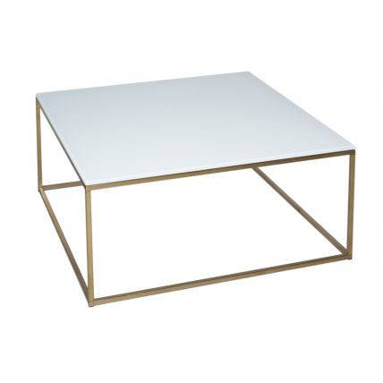 Square Coffee Table - Kensal WHITE with BRASS base