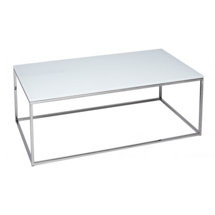 Rectangular Coffee Table - Kensal WHITE with POLISHED steel base