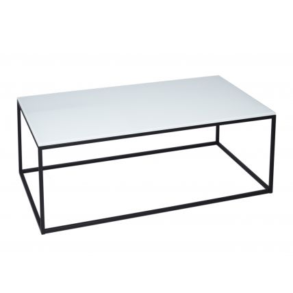 Rectangular Coffee Table - Kensal WHITE with BLACK base