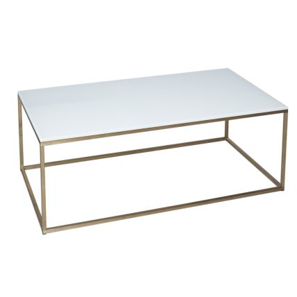 Rectangular Coffee Table - Kensal WHITE with BRASS base