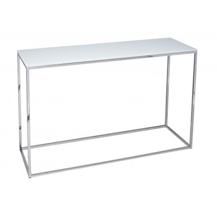 Console Table - Kensal WHITE with POLISHED base