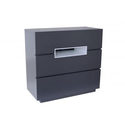 Three drawer chest - Savoye GRAPHITE with WHITE accent