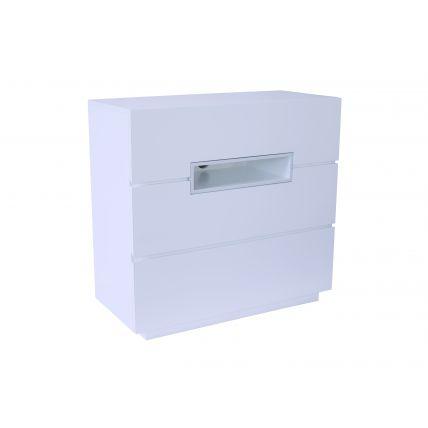 Three drawer chest - Savoye WHITE with WHITE accent