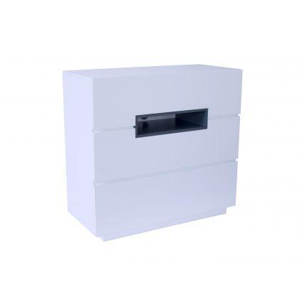 Three drawer chest - Savoye WHITE with GRAPHITE accent
