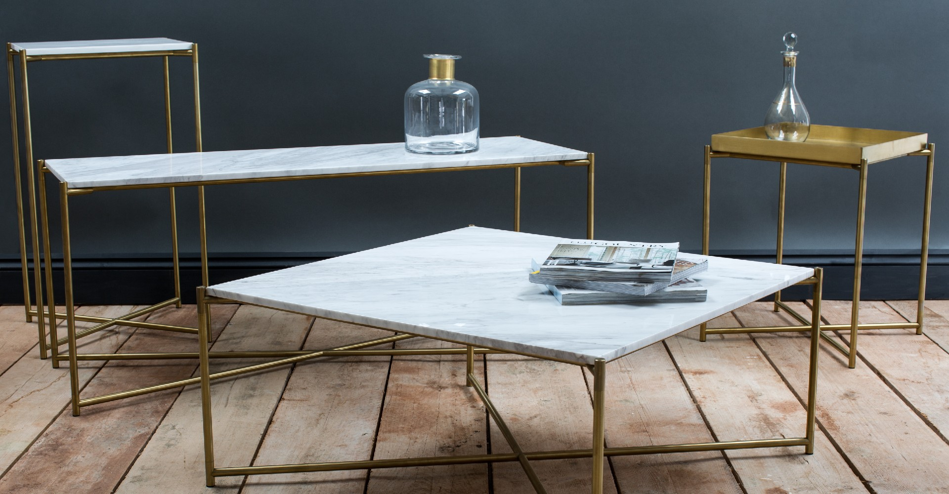 Iris White Marble And Brass Base Tables by Gillmore © GillmoreSPACE Ltd