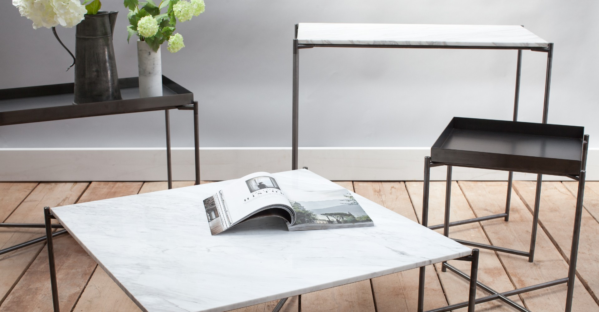 Iris White Marble And Gun Metal Base Tables by Gillmore © GillmoreSPACE Ltd