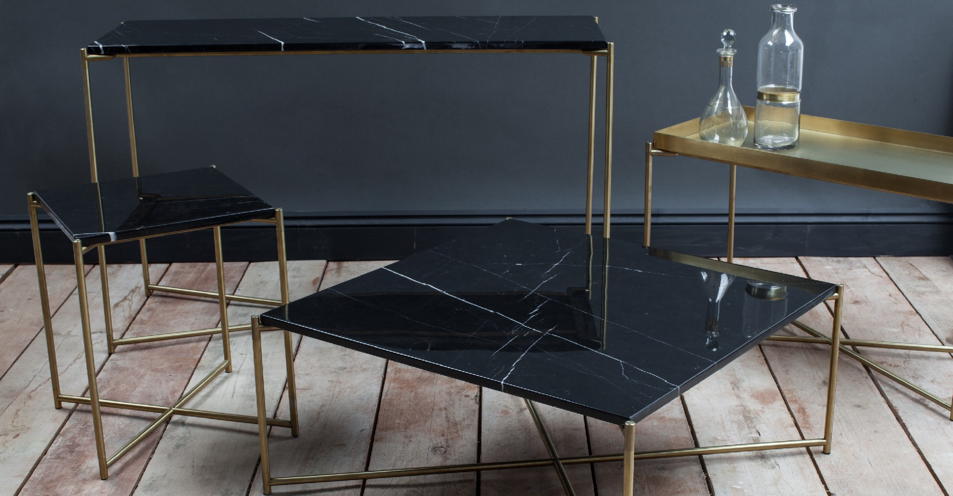 Iris Black Marble And Brass Base Tables by Gillmore © GillmoreSPACE Ltd