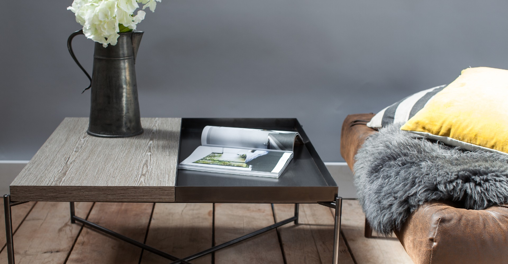 Iris Gun Metal Tray Top Weathered Oak Coffee Table by Gillmore © GillmoreSPACE Ltd