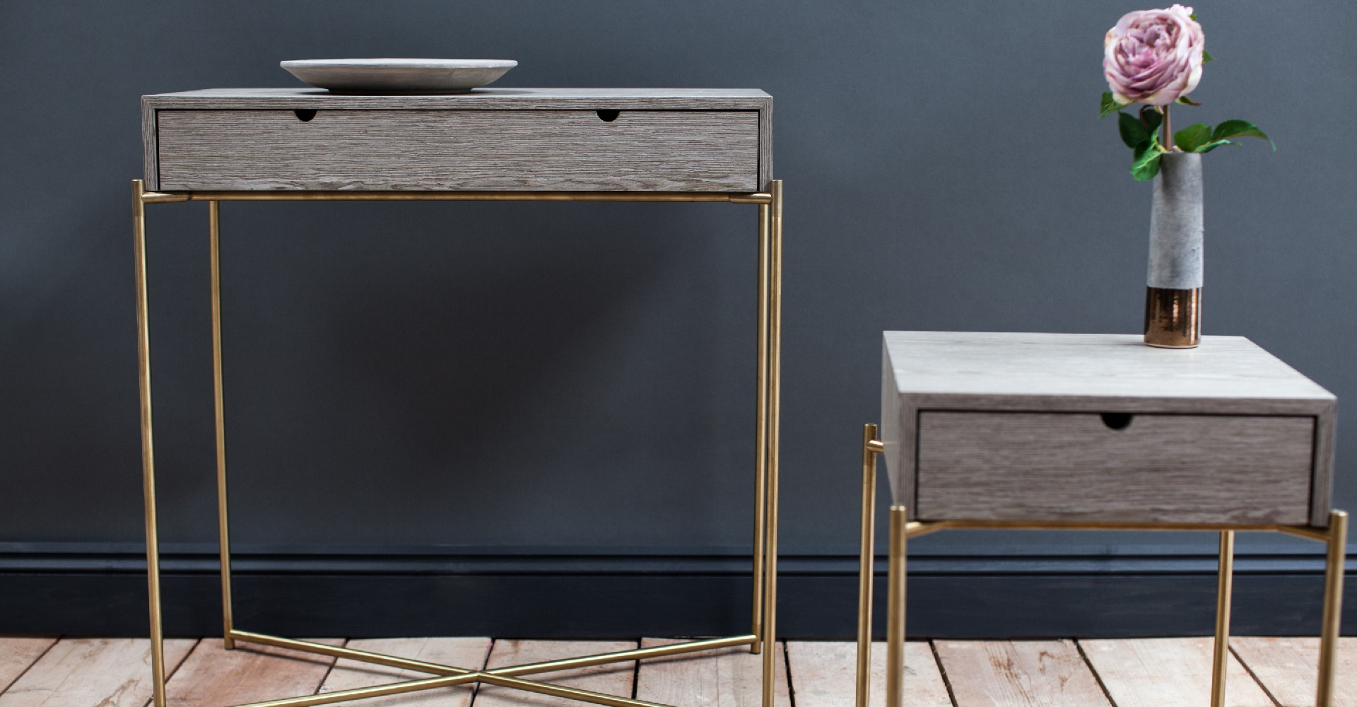 Iris Dressing Table And Side Table Brass Base by Gillmore © GillmoreSPACE Ltd
