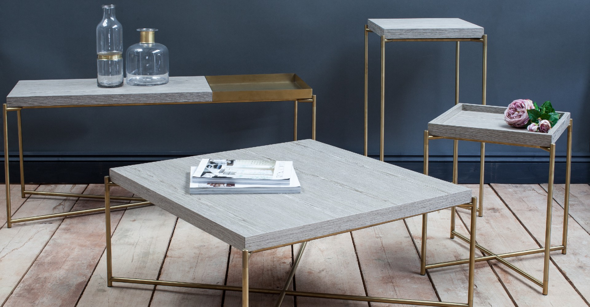 Iris Weathered Oak And Brass Base Tables by Gillmore © GillmoreSPACE Ltd