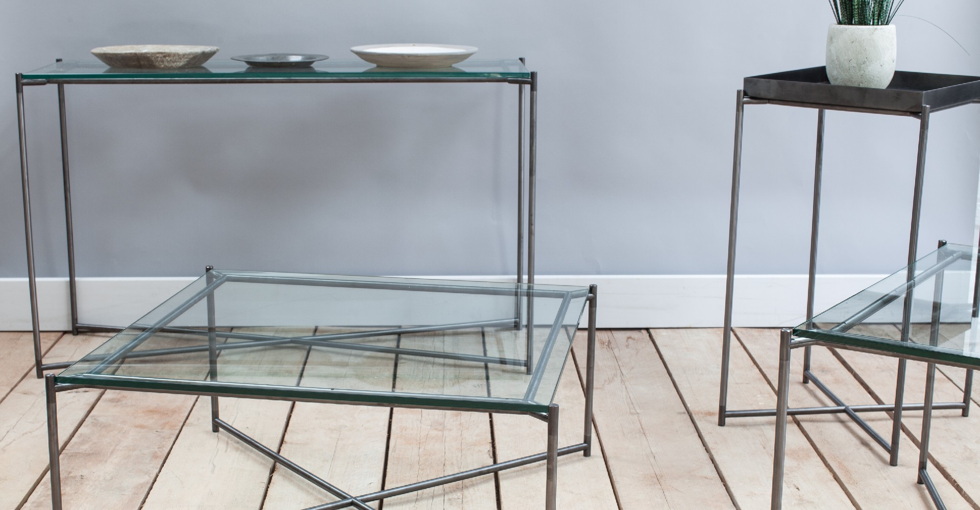 Iris Clear Glass And Gun Metal Tables by Gillmore © GillmoreSPACE Ltd