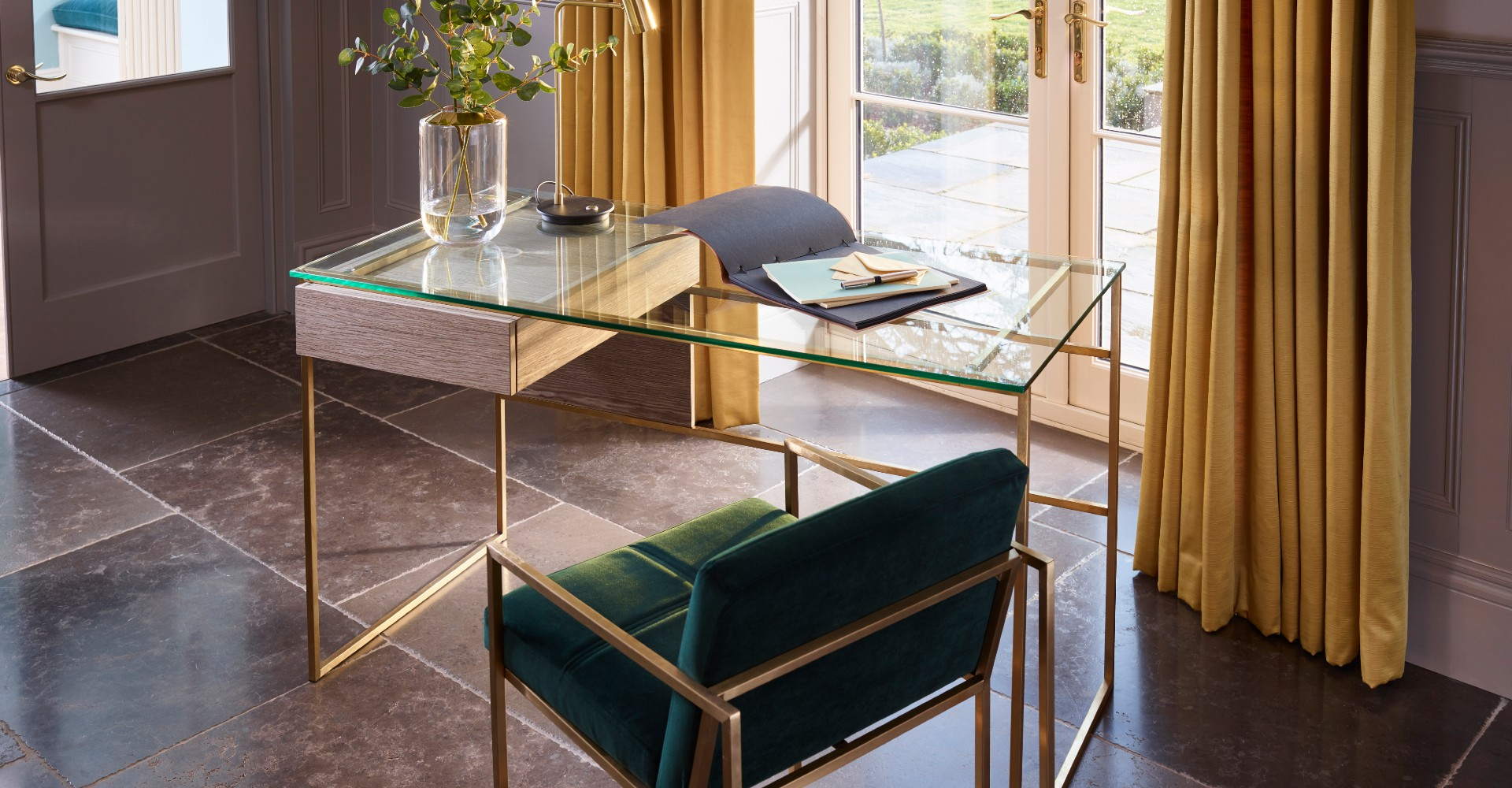 Federico Desk and Green Upholstered Armchair by Gillmore © GillmoreSPACE Ltd