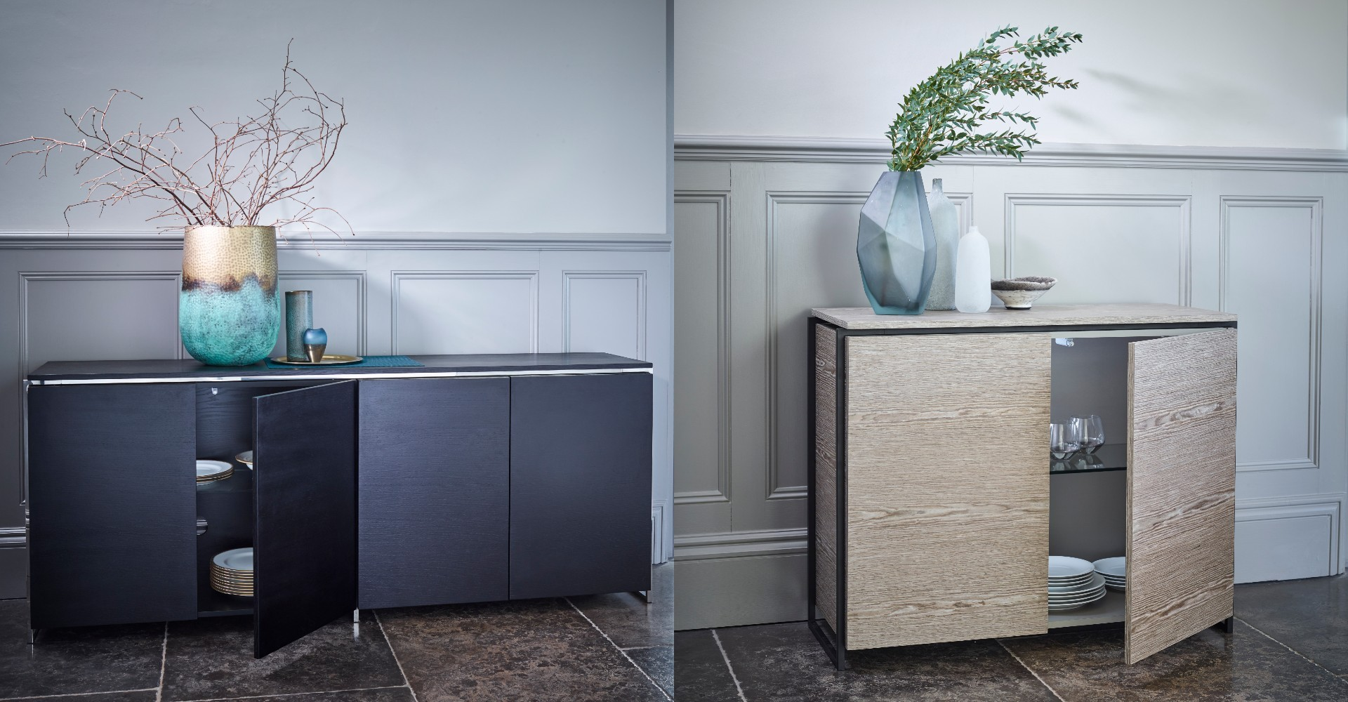Federico Four Door Sideboard And Two Door Sideboard by Gillmore © GillmoreSPACE Ltd