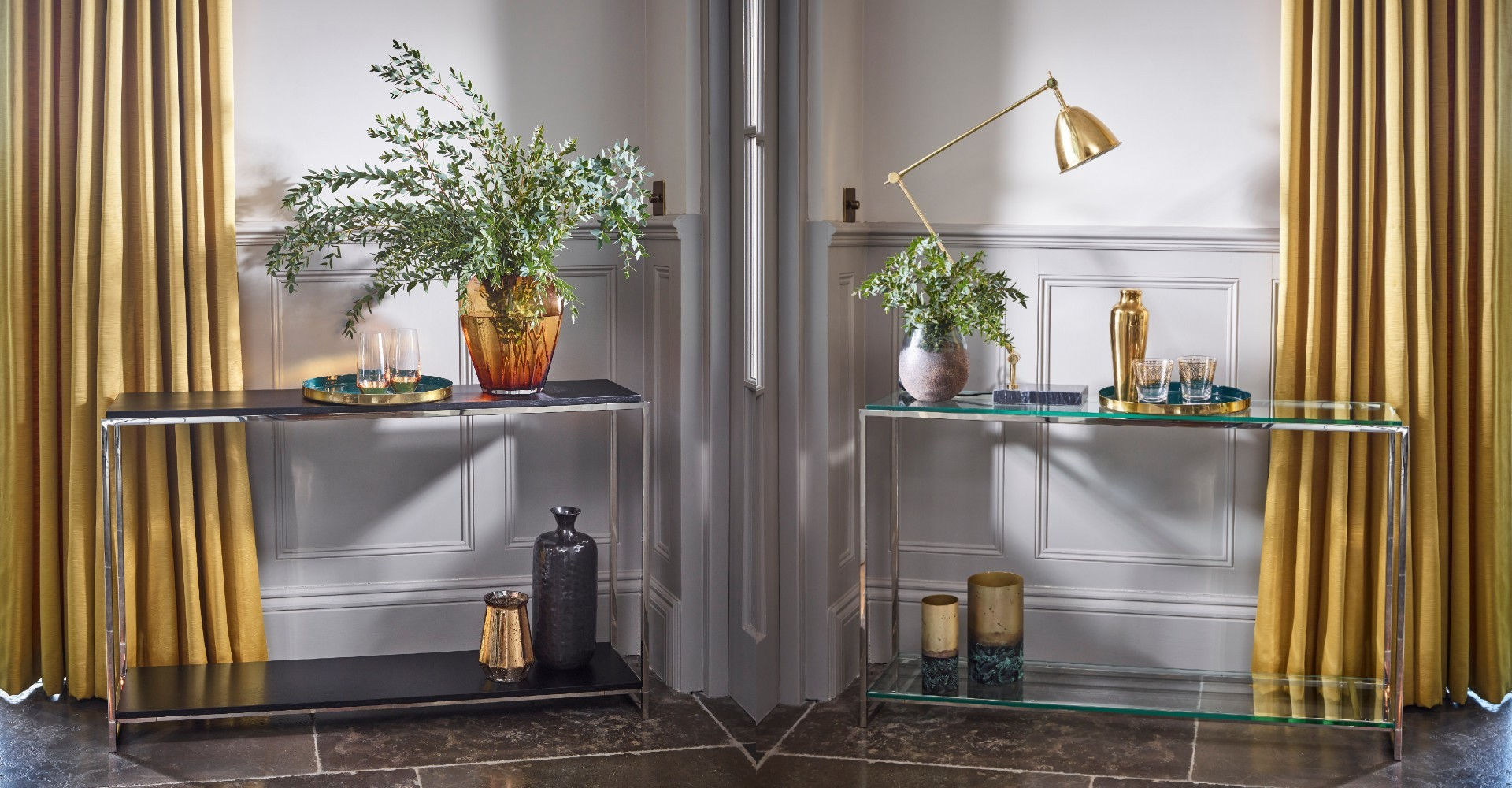 Federico Brass And Chrome Console Table by Gillmore © GillmoreSPACE Ltd