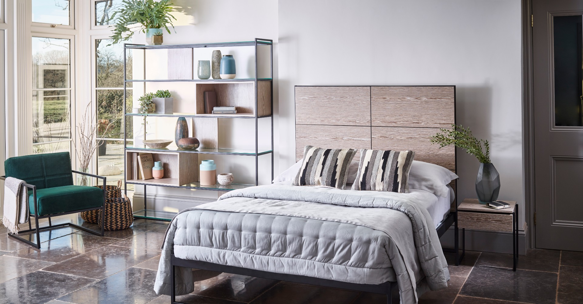 Federico Bed With Headboard And Shelf by Gillmore © GillmoreSPACE Ltd