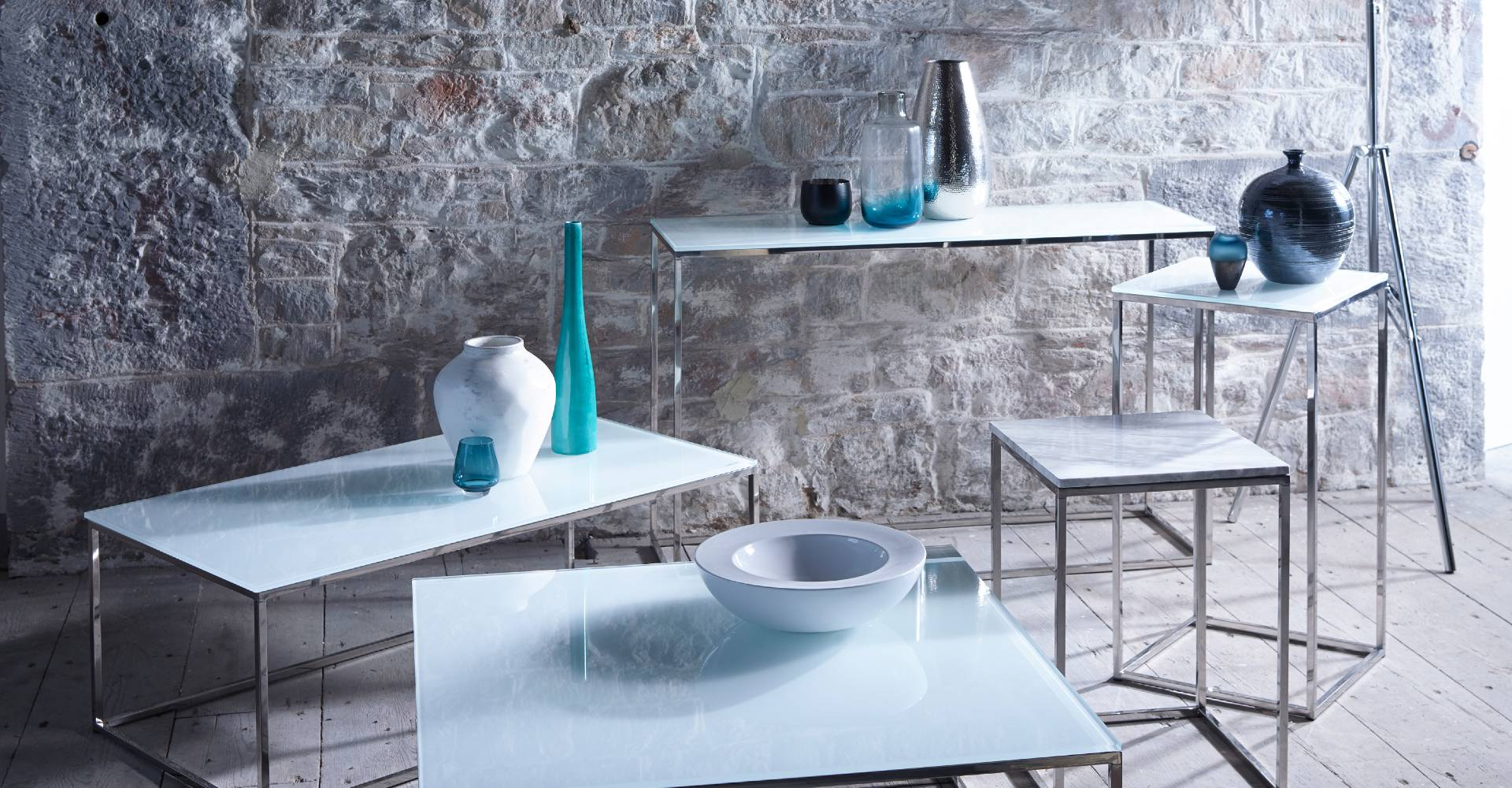 Kensal Square Tables White Glass With Chrome Base by Gillmore © GillmoreSPACE Ltd