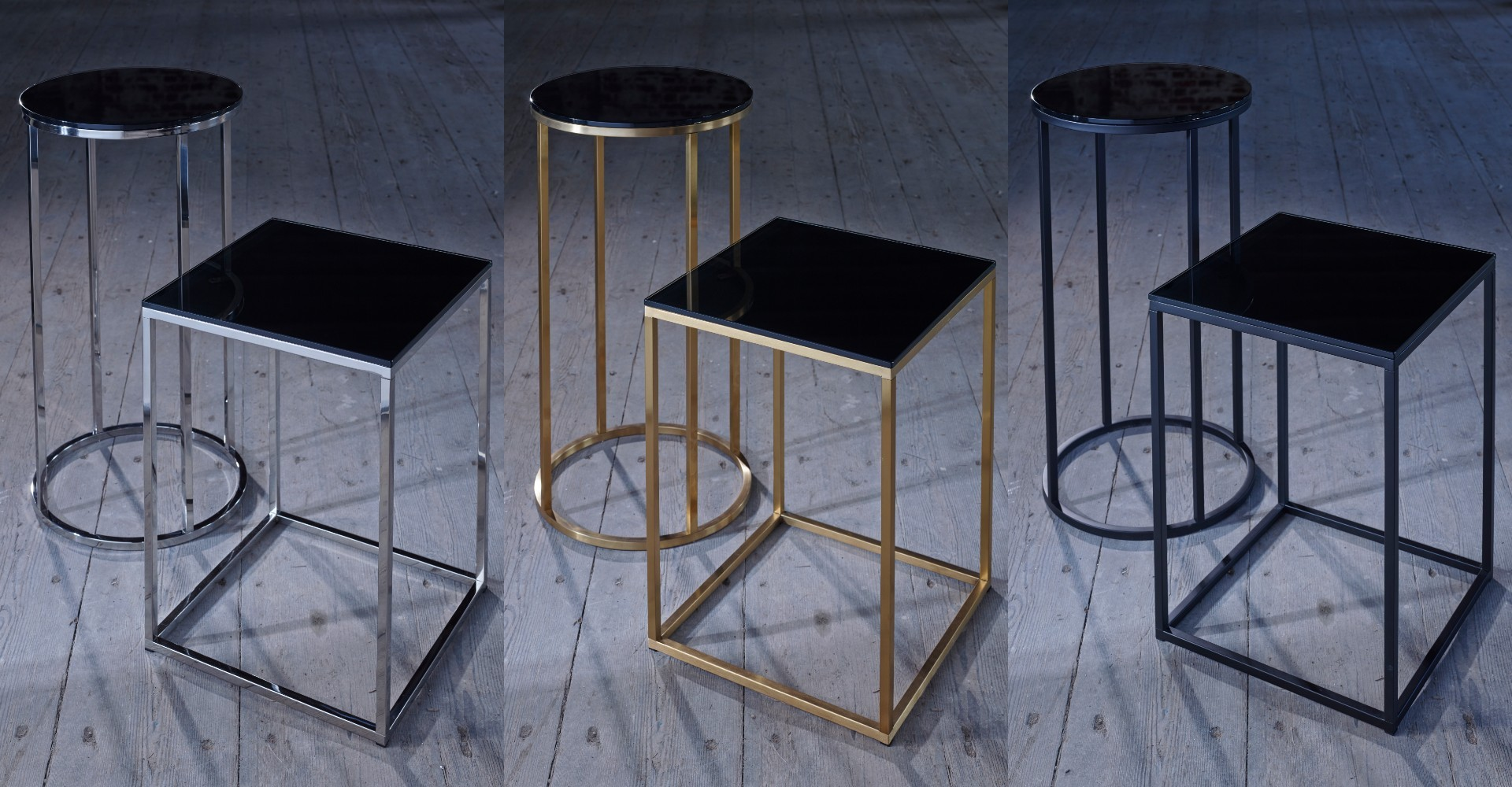 Kensal Square Side Table & Circular Lamp Stand Brass Base Set by Gillmore © GillmoreSPACE Ltd