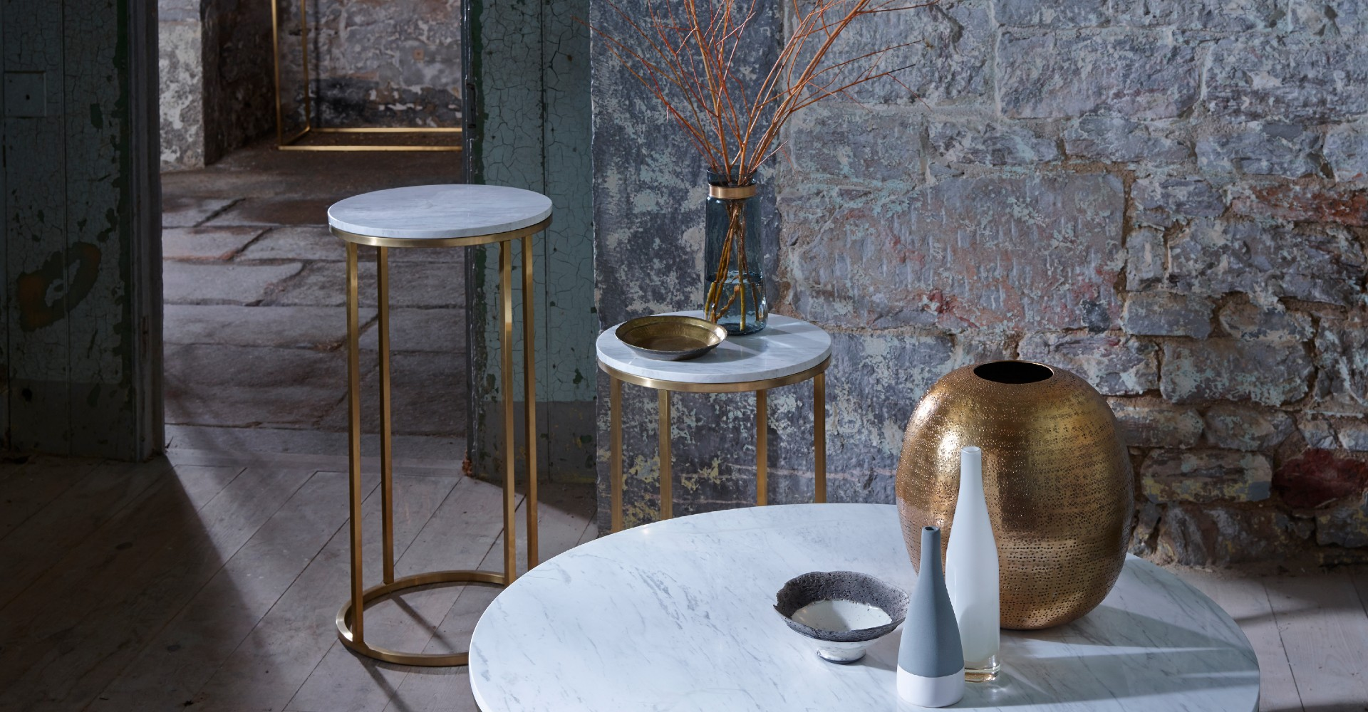 Kensal White Marble And Brass Base Round Tables by Gillmore © GillmoreSPACE Ltd