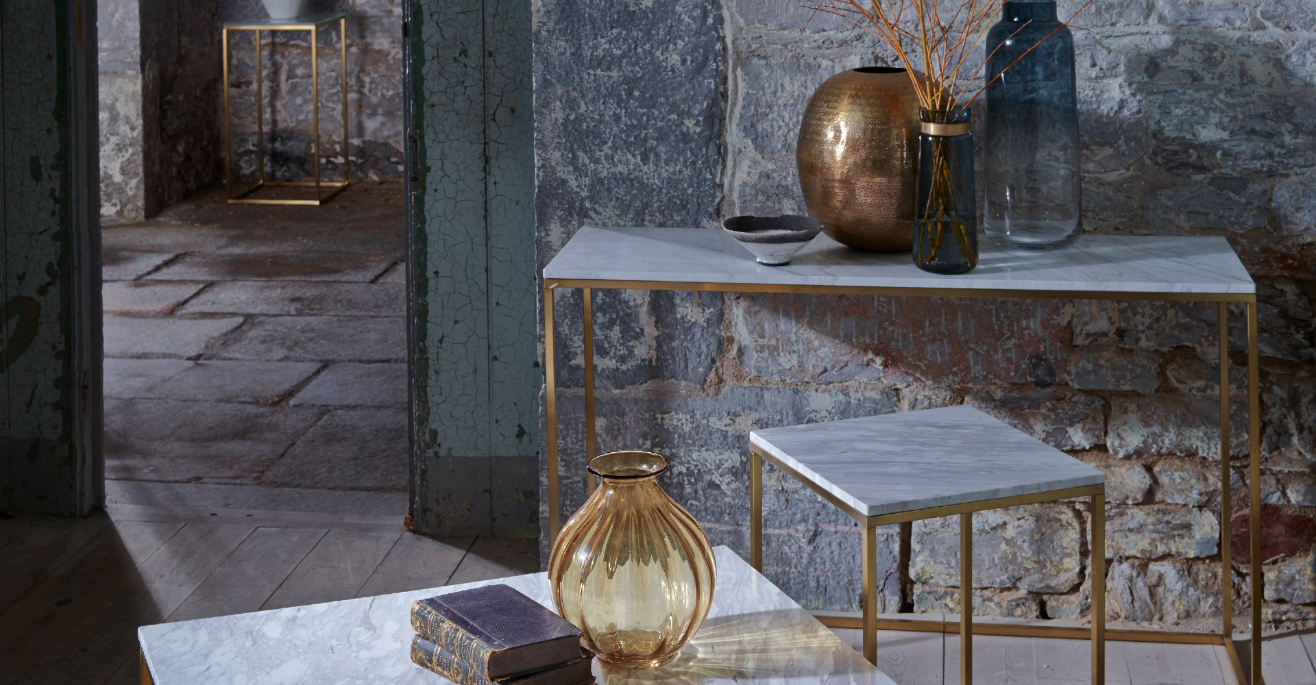 Kensal Square Tables White Marble With Brass Base by Gillmore © GillmoreSPACE Ltd