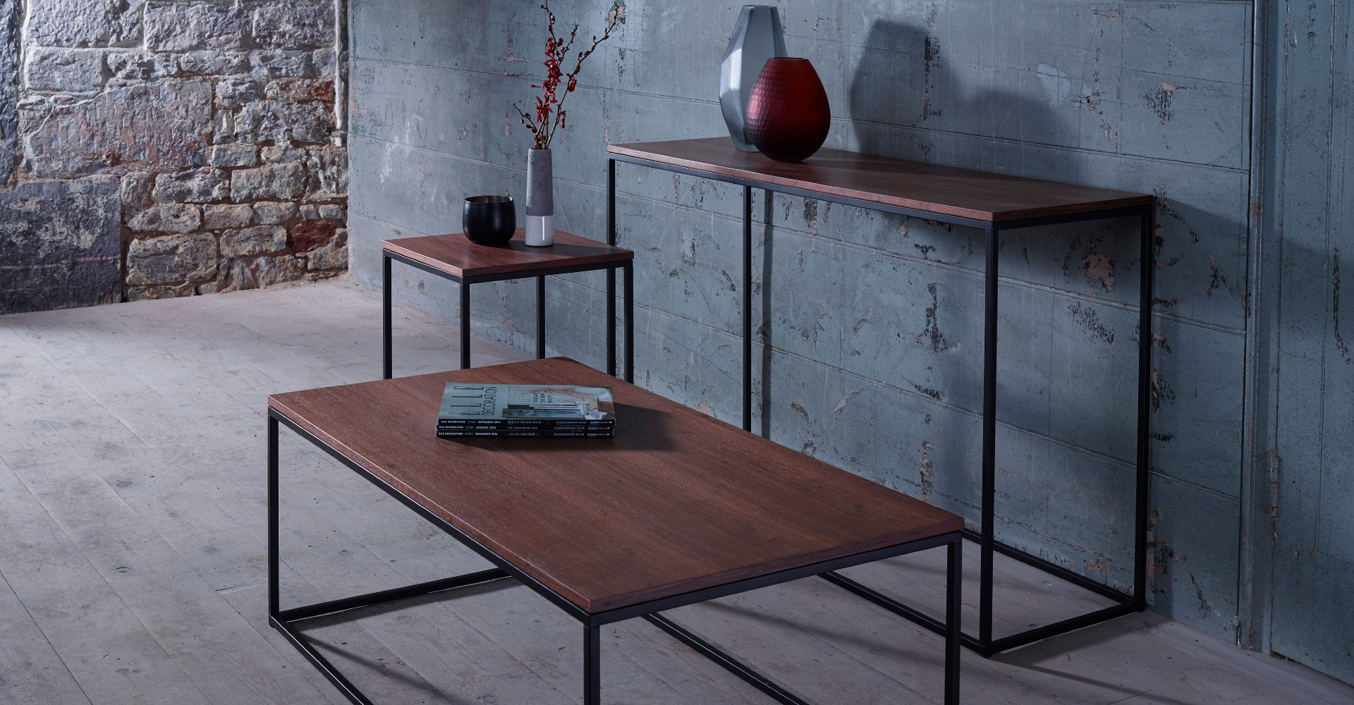 Kensal Rectangle Tables Walnut With Black Base by Gillmore © GillmoreSPACE Ltd