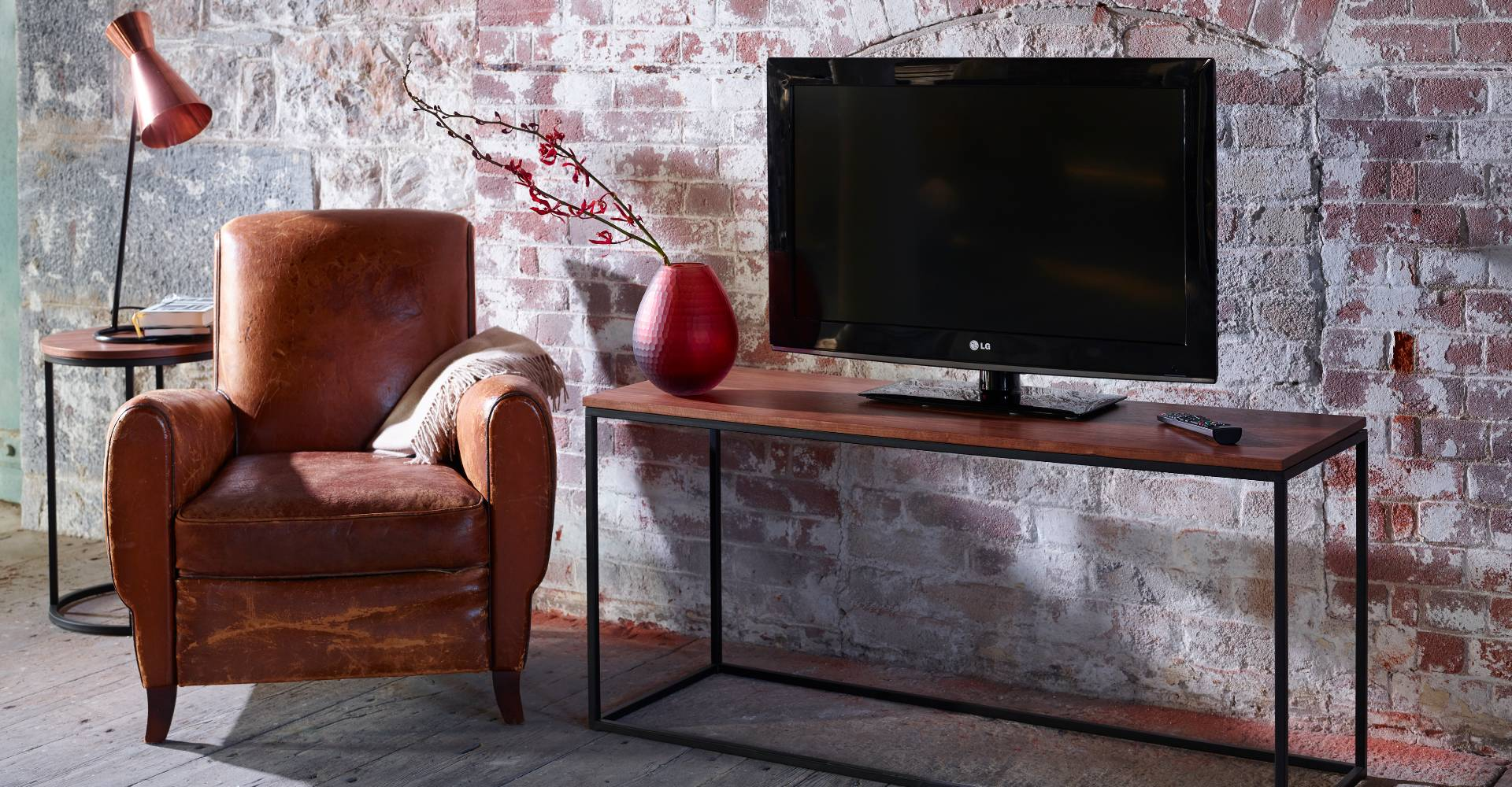 Kensal TV Stand Walnut With Black Base by Gillmore © GillmoreSPACE Ltd