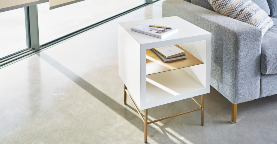 Alberto White & Brass Square Side Table © GillmoreSPACE Ltd