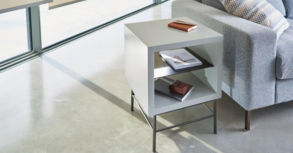 Alberto Grey & Dark Chrome Square Side Table © GillmoreSPACE Ltd