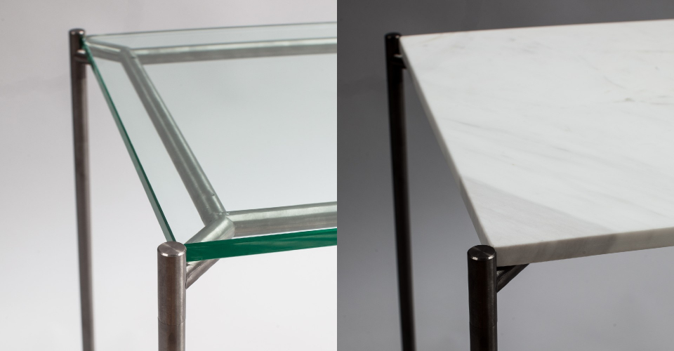 Iris Clear Glass And White Marble Top by Gillmore © GillmoreSPACE Ltd