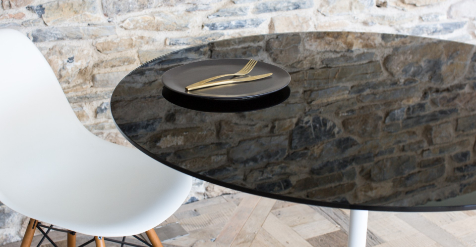 Swan Small Dining Table With Black Glass Top & White Pedestal © GillmoreSPACE Ltd