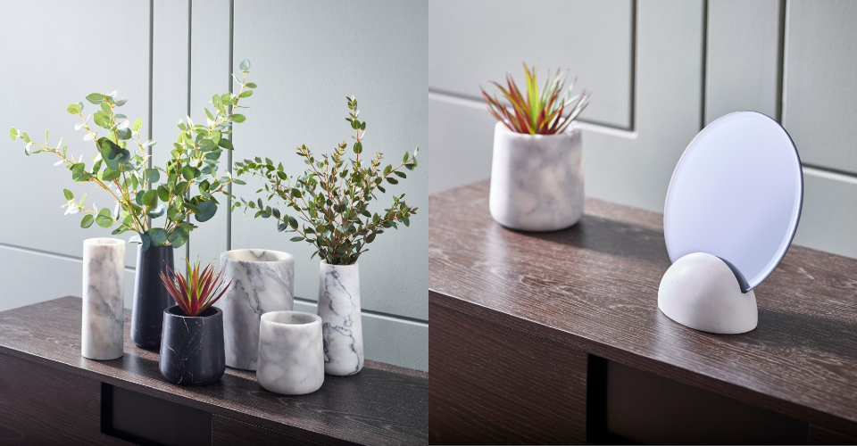 Accessories Eva Marble Table Top Mirror & Assorted Marble Vases by Gillmore © GillmoreSPACE Ltd