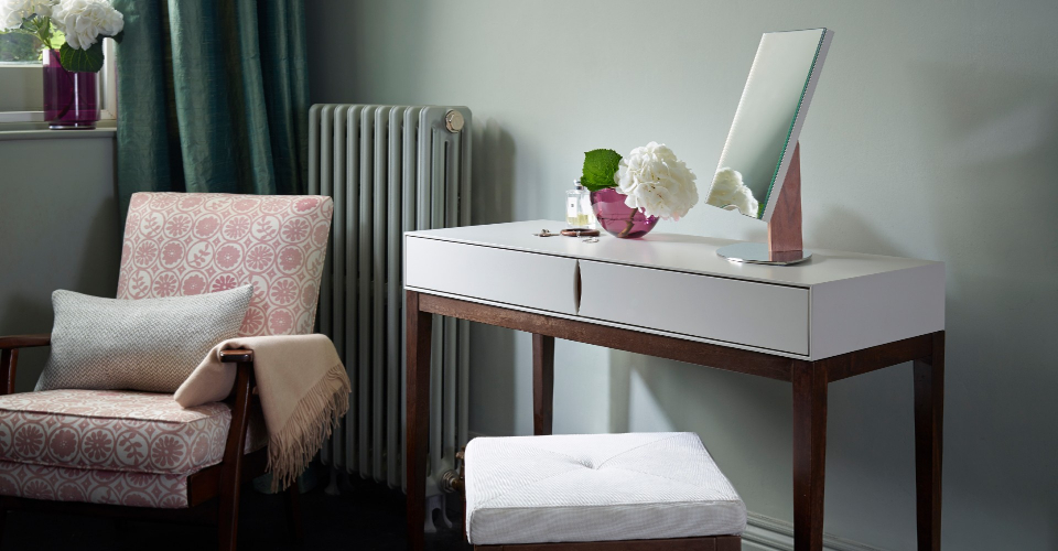 Lux Dressing Table Or Console Table With Lux Upholstered Stool © GillmoreSPACE Ltd