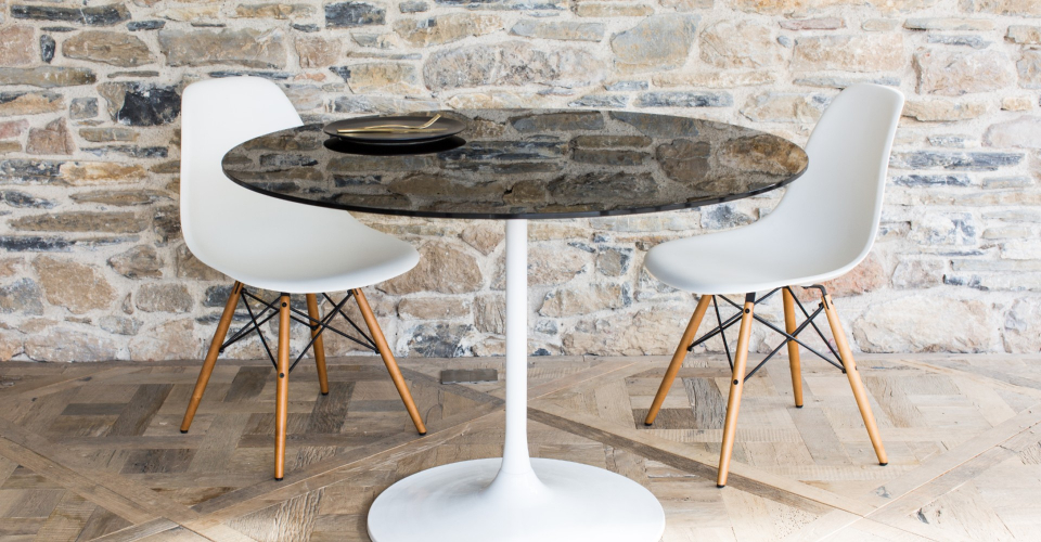 Swan Dining Table With Black Glass Top & White Pedestal © GillmoreSPACE Ltd