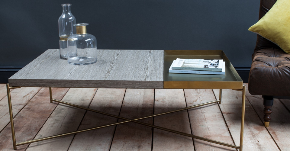 Iris Brass Tray Top Weathered Oak Coffee Table by Gillmore © GillmoreSPACE Ltd