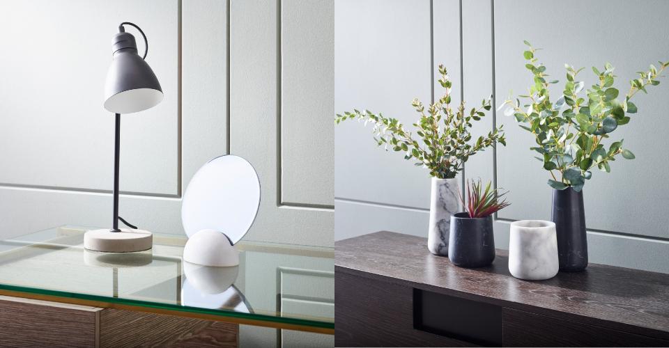 Accessories Agatha Table Lamp, Eva Marble Mirror & White Marble Vases  © GillmoreSPACE Ltd