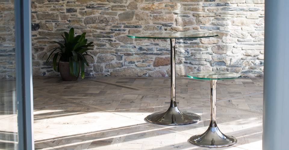 Swan Small Dining Table & Side Table With Clear Glass Tops & Black Chrome Pedestals © GillmoreSPACE Ltd