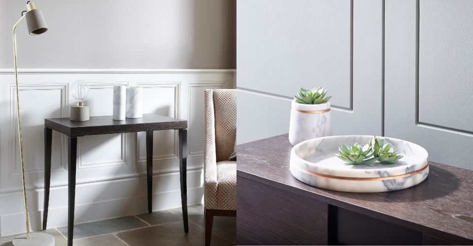 Accessories Agatha Standard Lamp, Stella Vase & Tray, Assorted White Marble Vases  © GillmoreSPACE Ltd