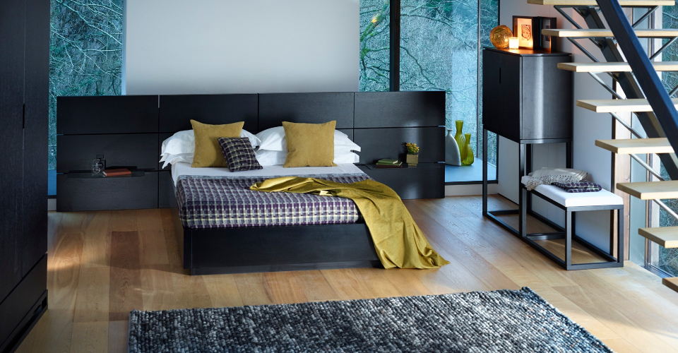 Cordoba King Bed With Large Paneled Headboard & Glass Shelves © GillmoreSPACE Ltd