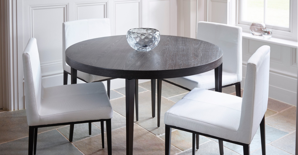 Fitzroy Round Dining Table & Off-White Upholstered Chairs by Gillmore © GillmoreSPACE Ltd