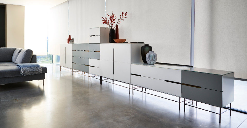 Alberto Assorted Combinations Of White & Grey Brass & Dark Chrome Accented Units © GillmoreSPACE Ltd