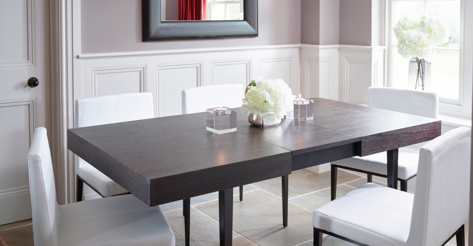 Fitzroy Extending Dining Table and Upholstered Dining Chairs by Gillmore © GillmoreSPACE Ltd