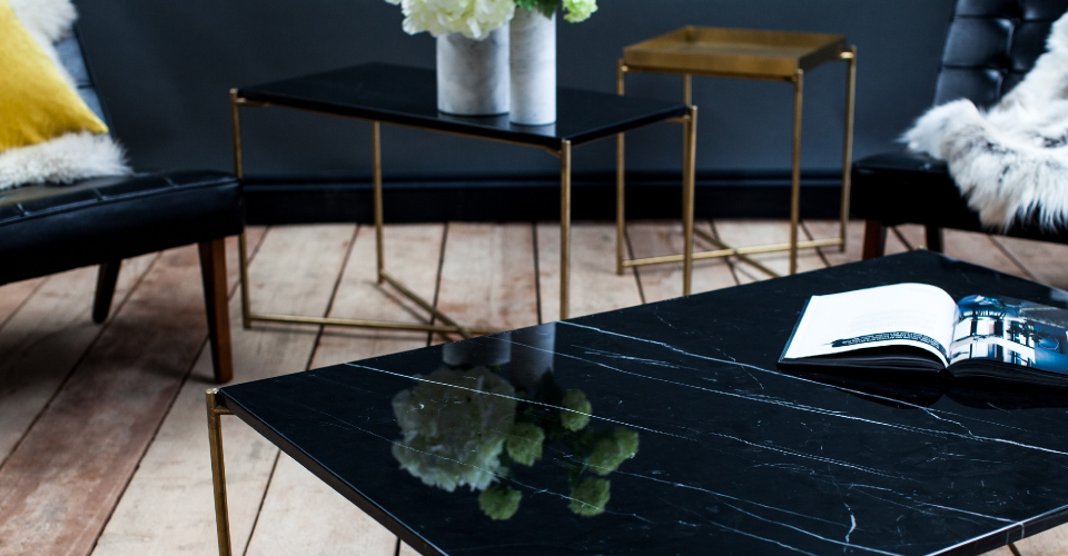 Iris Black Marble And Brass Base Coffee Table by Gillmore © GillmoreSPACE Ltd