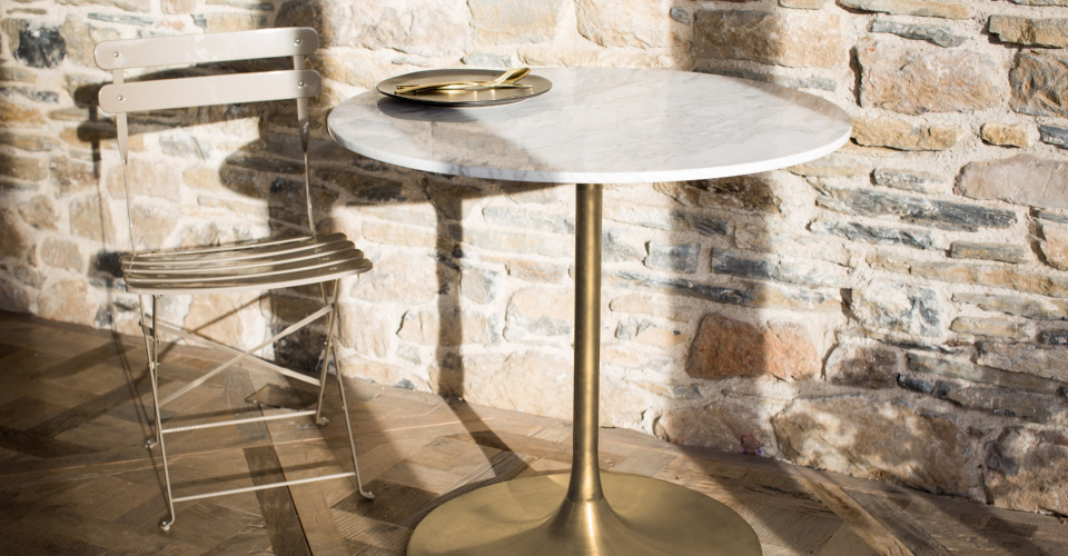 Swan Small Dining Table With White Marble Top & Brass Pedestal © GillmoreSPACE Ltd