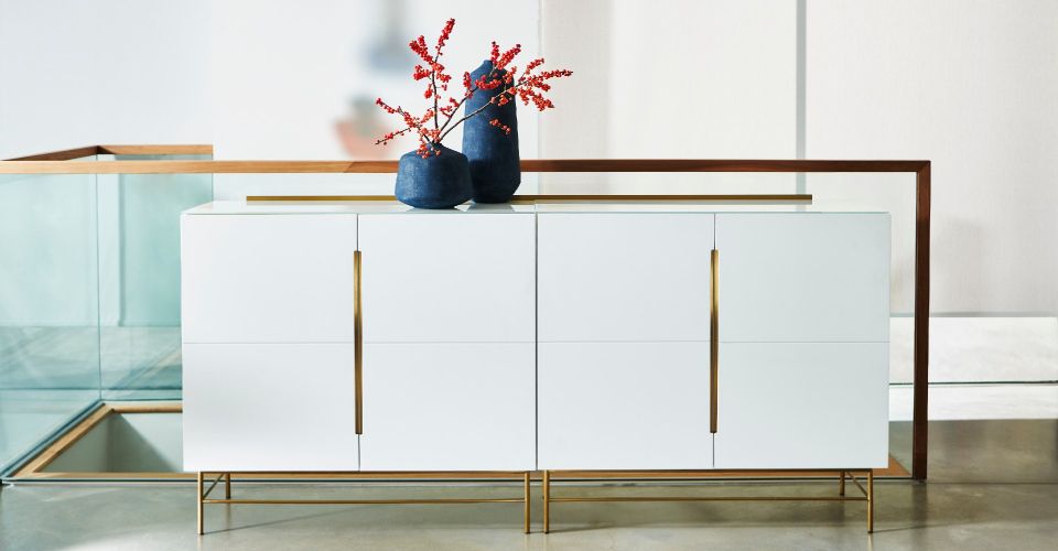 Alberto White Four Door Sideboard With Brass Accents & Base © GillmoreSPACE Ltd
