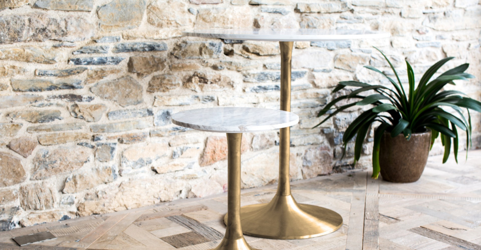 Swan Bistro Table & Side Table With White Marble Tops & Brushed Brass Pedestals © GillmoreSPACE Ltd