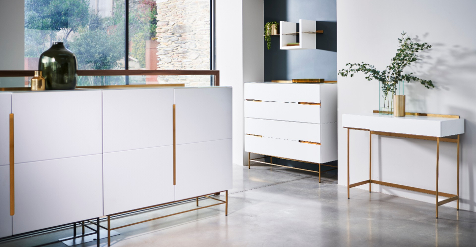 Alberto White & Brass 4 Door Sideboard, Wide 4 Drawer Chest & Dressing Table © GillmoreSPACE Ltd