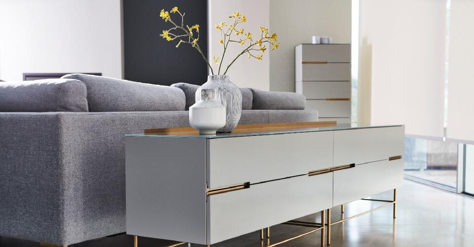 Alberto Grey & Brass Four Drawer Low Sideboard © GillmoreSPACE Ltd