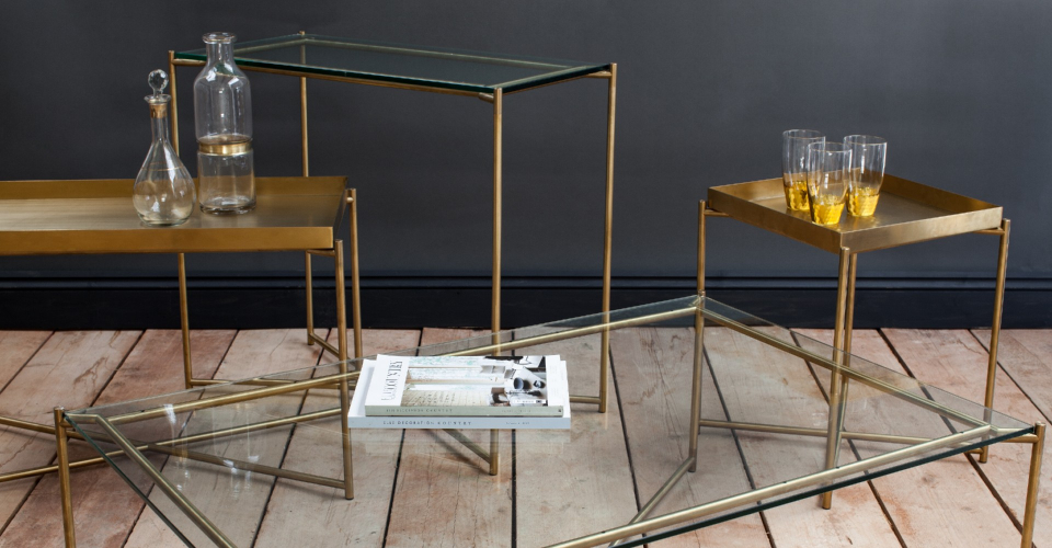 Iris Clear Glass And Brass Tray Top Tables by Gillmore © GillmoreSPACE Ltd