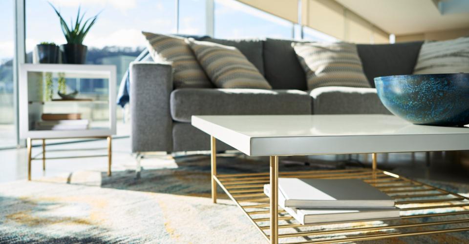 Alberto Grey & Brass Square Coffee Table Corner Detail © GillmoreSPACE Ltd
