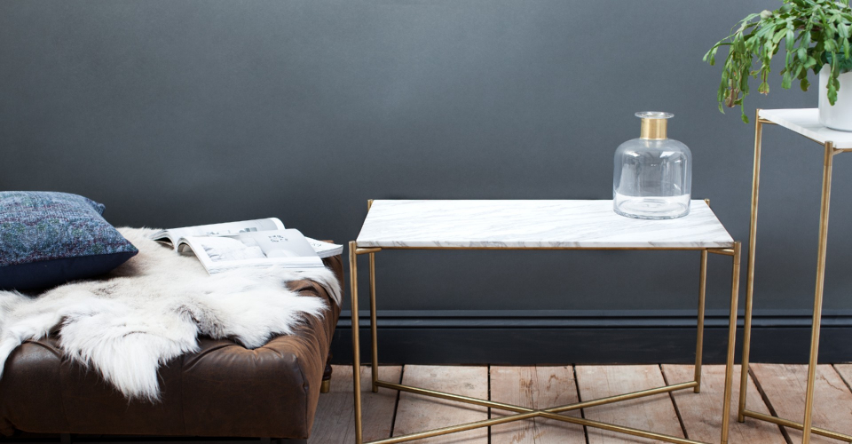 Iris White Marble And Brass Base Rectangle Side Table by Gillmore © GillmoreSPACE Ltd