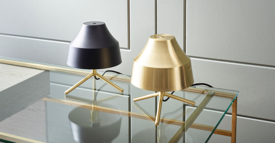 Accessories Hector Bedside Lamps In Black & Brushed Brass by Gillmore @ GillmoreSPACE Ltd